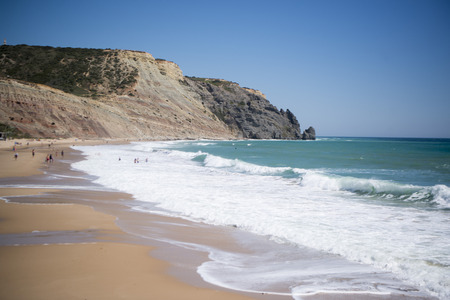 the beach at the village of Luz at the Algarve of Portugal in Europe.