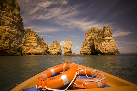 a landscape at the rocks of Ponta da Piedade near Lagos and Luz at the Algarve of Portugal in Europe.