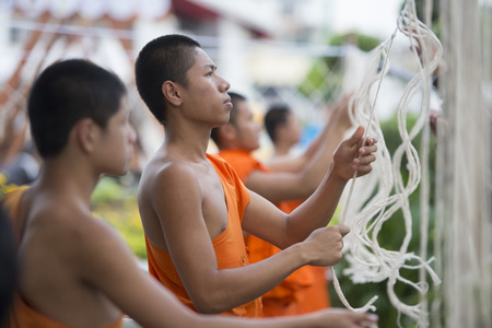 monks are preparing for the Loy Krathong festival the Wat Arun in Wang Lang in Thonburi in the city of Bangkok in Thailand.  Thailand, Bangkok, November, 2017