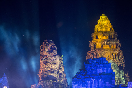 the sound and light show at the Khmer Temple Ruins at the Phimai Festival in  Phimai in the Provinz Nakhon Ratchasima in Isan in Thailand.  Thailand, Phimai, November, 2017
