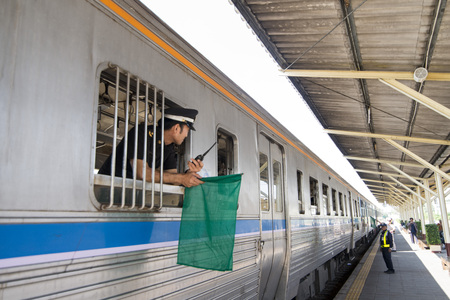 a train of the Thai Royal Railway in the city of  Khora on the wayt to the city of Surin in Isan in Thailand. Thailand, Isan, Khorat, November, 2017