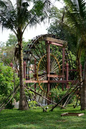 a water mill in the City of Siem Reap in Cambodia.  Cambodia, Siem Reap, April 2014 Editöryel