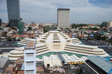 a city view with the central market or Psar Thmei market in the city of Phnom Penh of Cambodia. Cambodia, Phnom Penh, November, 2017,