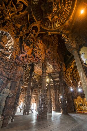 inside of the Wood Sanctuary of Truth Temple in the city of Pattaya in the Provinz Chonburi in Thailand. Thailand, Pattaya, November, 2018