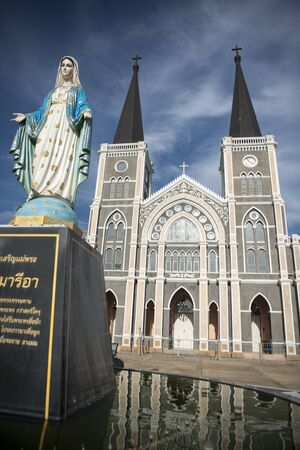 the Mary church on the Mae Nam Chanthaburi River in old town of the city of  Chanthaburi in the north of Thailand.  Thailand, Chanthaburi, November, 2018.