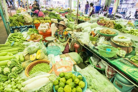 fresh vegetable at the food market in the town of Kamphaeng Phet in the Kamphaeng Phet Province in North Thailand. Thailand, Kamphaeng Phet, November, 2019