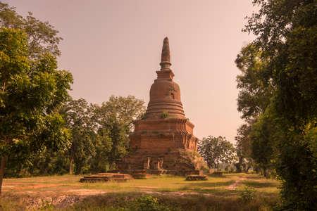 the Wat Ton Chan at the Historical Park in Sukhothai in the Provinz Sukhothai in Thailand.   Thailand, Sukhothai, November, 2019