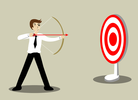 Determined businessman aiming at target with bow and arrow. Vector cartoon business Character