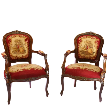 Stock Photo   Two English Antique Tapestry Chairs Decorated With Flowers  And Couple Isolated On White Background