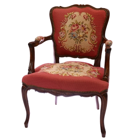 old furniture: English antique tapestry chair decorated with flowers isolated on white background