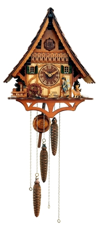 cuckoo: Black forests mechanical cuckoo clock isolated on white background Stock Photo