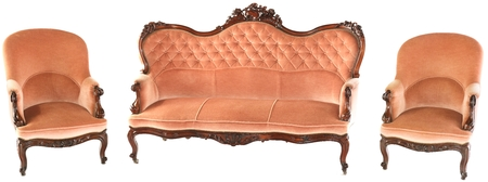 French wooden antique pink sofa and two armchairs isolated on white background