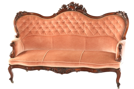 settee: French wooden antique pink sofa isolated on white background