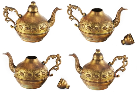 engravings: Golden kettle with engravings  (view from different angles) isolated on white background