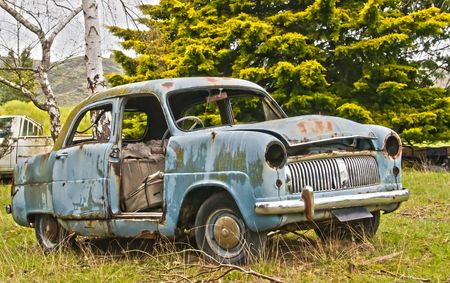 rustiness: Abandoned Car in the New Zealand Countryside Stock Photo