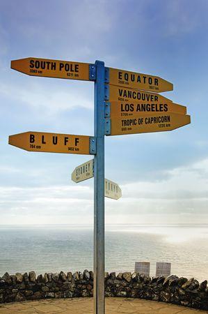 Directional Signpost at Cape Reigna in New Zealand, ocean in background  photo