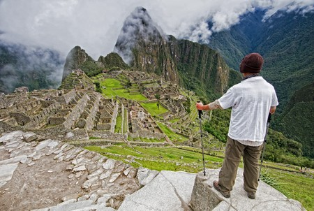 bloke: Male hiker at the Unesco World Heritage Site of Machu Picchu, Peru
