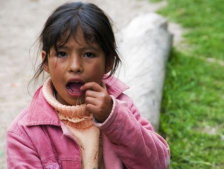 december 25th: Inka Trail, Peru, December 25th 2009 - Curious local girl on Inka Trail in Peru. Editorial