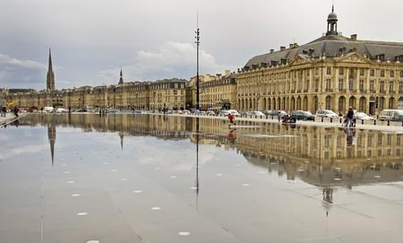 Reflection of Place De La Bourse in Bordeaux, France. A Unesco World Heritage Site. Stock Photo