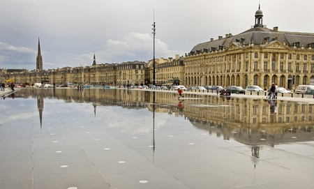 Reflection of Place De La Bourse in Bordeaux, France. A Unesco World Heritage Site. Stock Photo
