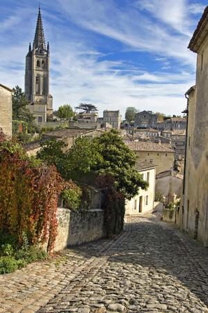 saint emilion: Cobbled Street of Saint Emilion in Bordeaux - A Unesco World Heritage Site.