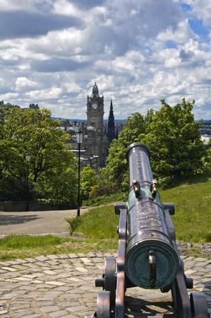 commemorative: Commemorative cannon atop Calton Hill in Edinburgh, Scotland Stock Photo