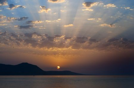 Beautilful sunset seen from Polis campsite on the little island of Cyprus