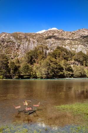 nahuel huapi: Flooded picnic spot in Nahuel Huapi National Park, Argentina. Stock Photo