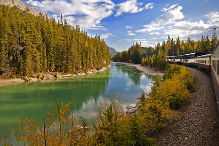 Treinreis door de Rocky Mountains, Canada Stockfoto