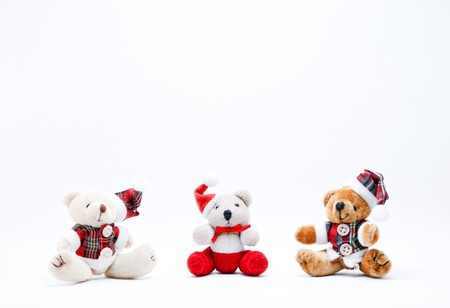 cuddly: Three Christmas Cuddly Toys on a White Background. Stock Photo