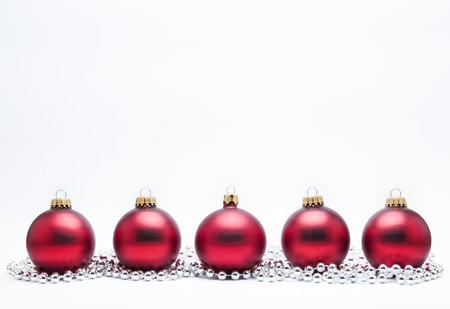 Christmas Baubles with Silver Beads on a White Background. Stock Photo - 7598451