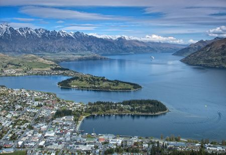 arial view: Arial view of Queenstown in New Zealand