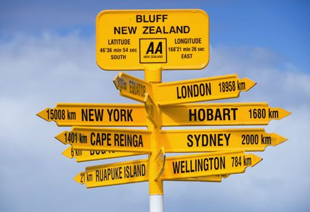 bluff: Signpost at Bluff in New Zealand. Stock Photo