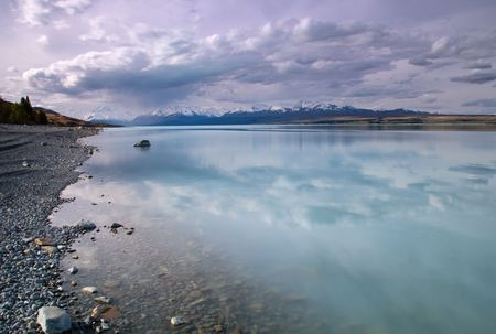pepples: Lake Pukaki in New Zealand with Mount Cook in the distance