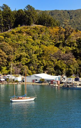 sounds: Sailing Boat in Marlborough Sounds, New Zealand.