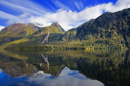 Lake Manapouri in New Zealand.