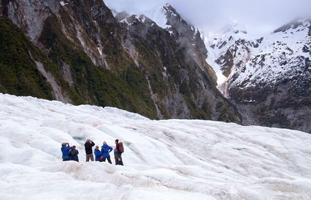 visitors area: Hikers on Franz Josef Glacier in New Zealand, October 10 2009. The glacier area attracts around 250,000 visitors a year and up to 2,700 per day.