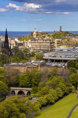 edinburgh: The Edinburgh skyline from Edinburgh Castle with the Scottish National Monument in the distance. Stock Photo