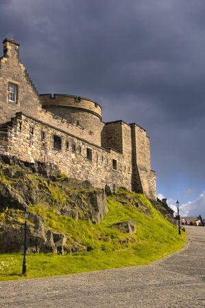 Dark Clouds hover over Edinburgh Castle, Scotland. photo