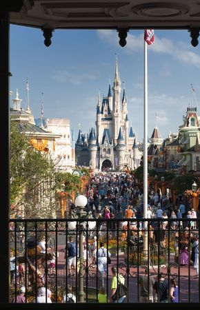 annually: Halloween at Disneys Magic Kingdom in Florida, October 4th 2010. Approximately 46 million people visit the Walt Disney World Resort annually.
