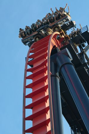 Sheikra Roller Coaster at Busch Gardens, Florida, October 12th 2010. In 2009, the park hosted 4.1 million visitors, placing it in the Top 20 theme parks in the US. Stock Photo - 8150054