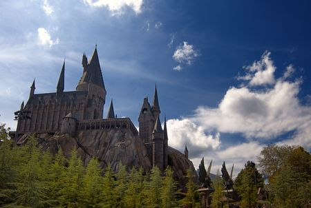 harry: Hogwarts Castle at the Wizarding World of Harry Potter, Florida, 15th October 2010. It took 5 years and cost approximately $265 million to build. Editorial