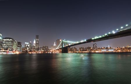 Manhattan and Brooklyn Bridge from Brooklyn photo