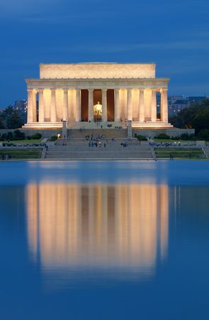 Lincoln Memorial with Lake Reflection.