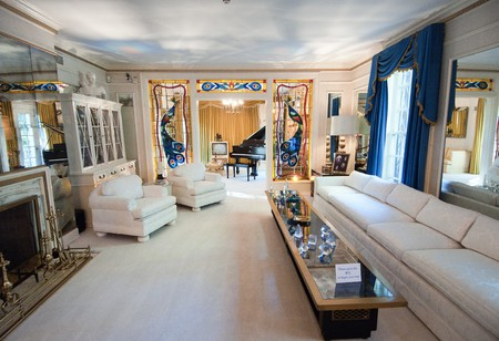Inside Elvis Presley's Graceland, September 30th 2010. It has become the second most-visited private home in America with over 600,000 visitors a year. Only the White House has more visitors per