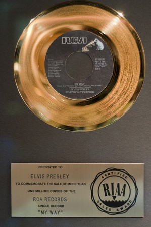 Elvis Presleys memrobilia at Graceland, September 30th 2010. It has become the second most-visited private home in America with over 600,000 visitors a year.