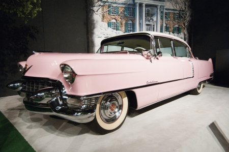brougham: Elvis Presleys Pink Cadillac at Graceland, September 30th 2010. It has become the second most-visited private home in America with over 600,000 visitors a year. Only the White House has more visitors per year. Editorial