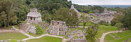 Panoramic image of the Mayan ruins of Palenque, Mexico