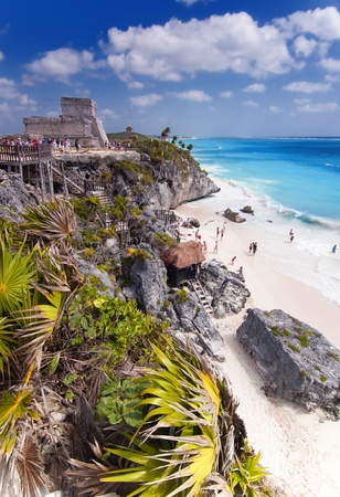 mayan: The Mayan ruins of Tulum in Mexico. Stock Photo