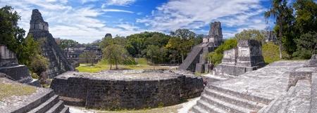 Panoramic view of the Mayan ruins of Tikal in Guatemala Stock Photo